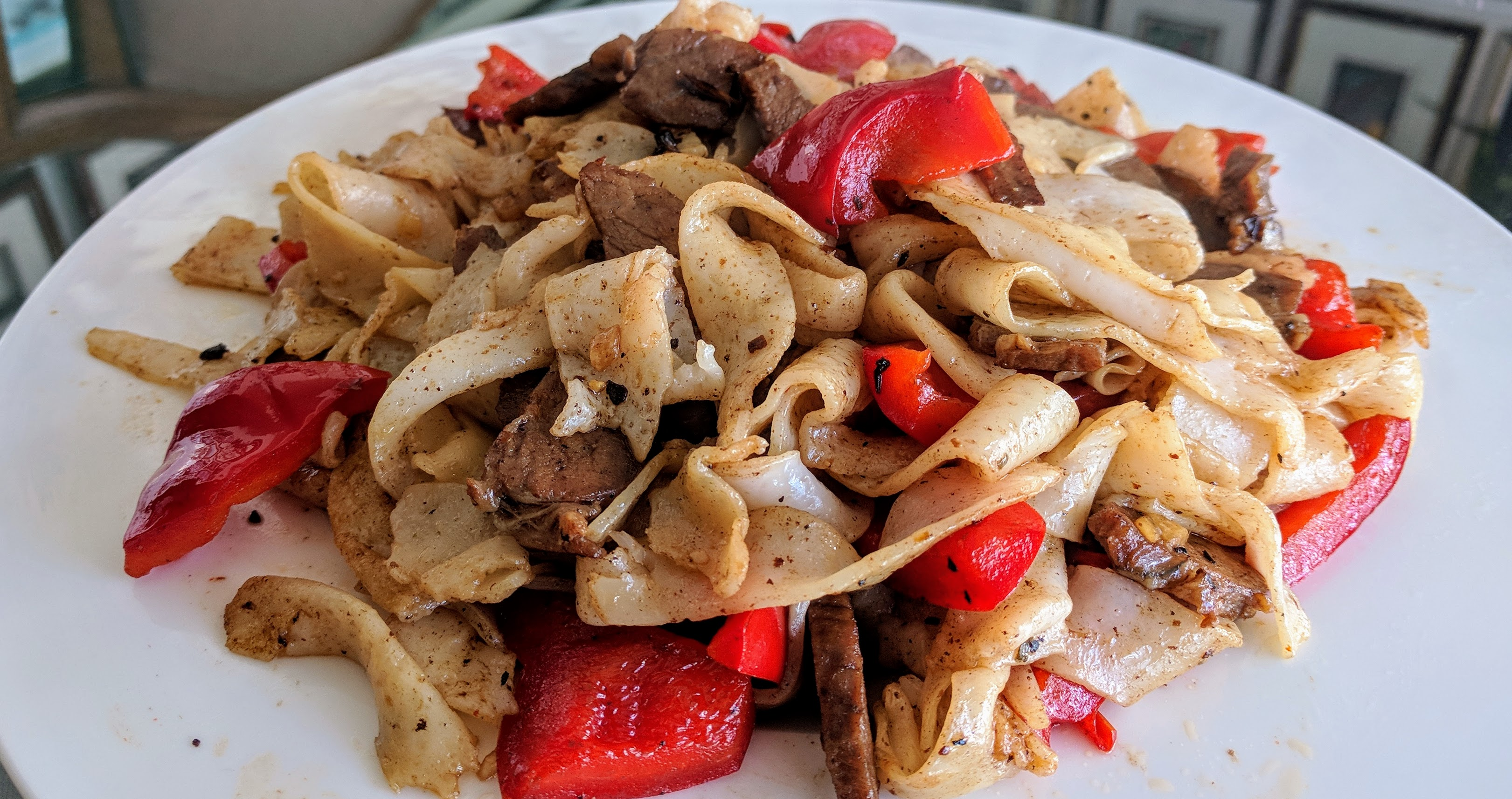fried rice noodles in black bean sauce